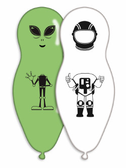 Alien and Astronaut theme party balloons x 4 pieces