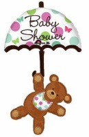 Baby Shower Umbrella & Bear Super Shape Foil Balloon x 1 piece