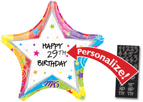 Anagram Birthday Foil Balloon Personalized Star shape