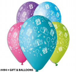 "Birthday Gift theme balloons 12"" Dia x 10 pieces"