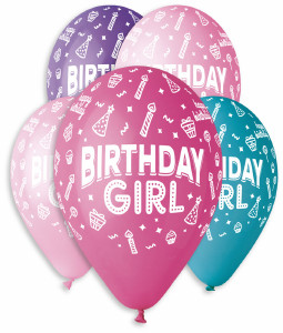 "Birthday Girl Balloons 12"" Dia x 10 pieces"