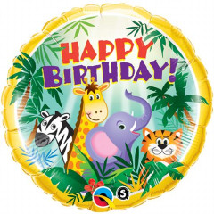 "Birthday Jungle Friends foil balloon 18"" x 1 piece"