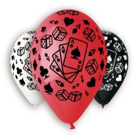 "Casino Theme Printed Balloons 12"" Dia x 10 pieces"