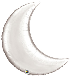Crescent Moon qualatex foil balloon silver