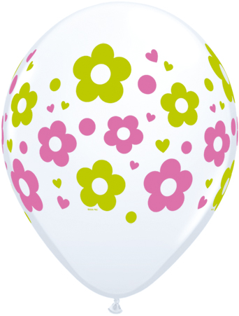 Round Daisies printed balloons