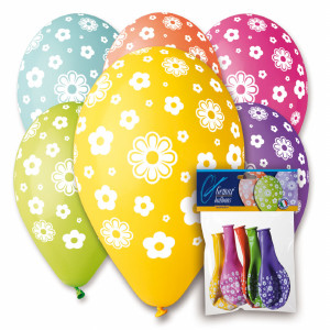 Daisy Flower Balloons Assorted Colors 12' Dia x 10 pieces