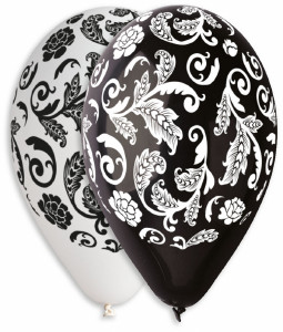 "Damask Print Balloons Assorted Colors 12"" Dia x 10 pieces"