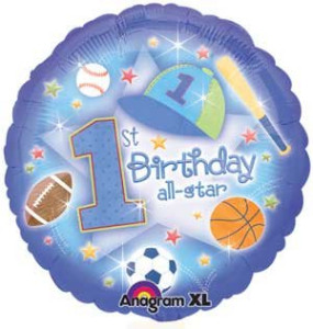 First Birthday All Star Foil Balloon from anagram