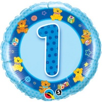 "First Birthday Boy Age 1 Blue Teddies Foil Balloon 18"" x 1 piece"