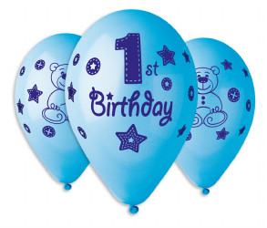 "First Birthday Boy Balloons 12"" Dia x 10 pieces"