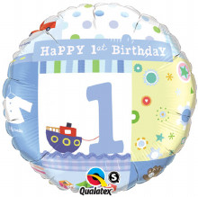 First Birthday Boy foil balloon from qualatex