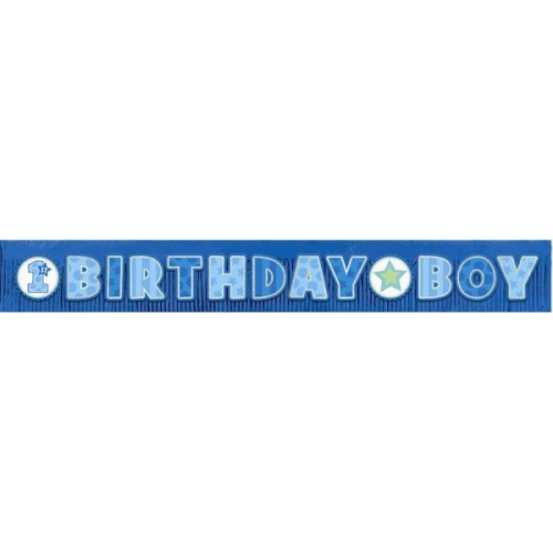 First Birthday Boy Giant Glitter Fringe Banner