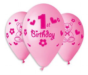 "First Birthday Girl Balloons 12"" Dia x 10 pieces"