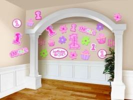 1 st Birthday Girl Mega Value Pack Cutouts