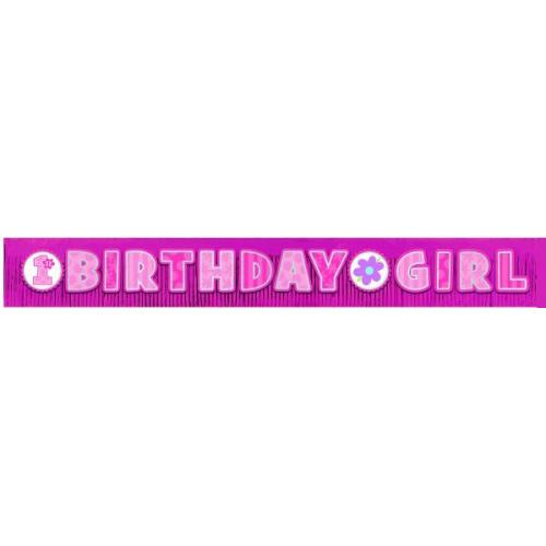 first birthday girl giant glitter fringe banner