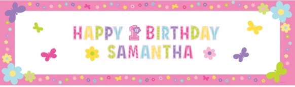 first birthday girl personalised giant sign banner