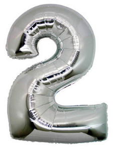 Foil Balloon Number '2' Silver Super Shape