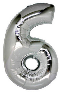 Foil Balloon Number '6' Silver Super Shape