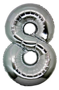 Foil Balloon Number '8' Silver Super Shape