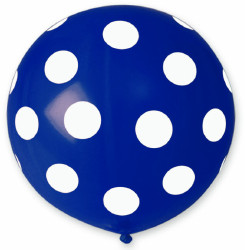 Giant Blue Balloon Polka Printed