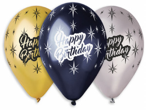 "Happy Birthday Balloons 12"" Dia x 10 pieces"