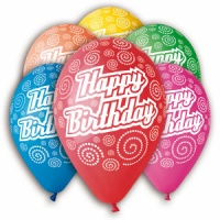 "Happy Birthday Balloons Assorted Colors 12"" Dia x 10 pieces"