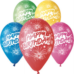 Happy Birthday Balloons Assorted Colors 12 Dia X 10 Pieces