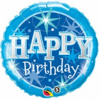 "Happy Birthday Blue Sparkle Foil Balloon 18"" x 1 piece"
