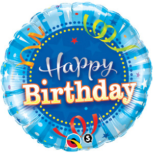 "Happy Birthday Bright Blue foil balloon 18"" x 1 piece"