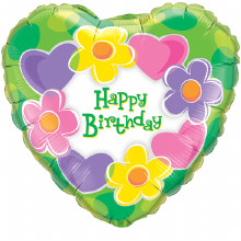 "Happy Birthday Hearts & Flowers Foil Balloon 18"" x 1 piece"
