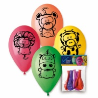 "Jungle Animal Printed Balloons 12"" Dia x 10 pieces"
