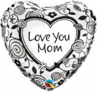"Love You Mom Foil Balloon 18"" Hearts x 1 piece"