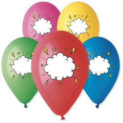 "Message Balloons Assorted Colors 10"" Dia x 10 pieces"