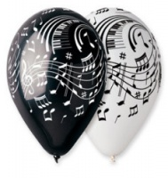 "Musical Theme Balloons 12"" Dia x 10 pieces"