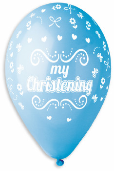 "My Christening Balloons in Blue 12"" Dia x 10 pieces"
