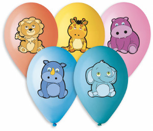 "Plush Animal Balloons 12"" Dia x 10 pieces"