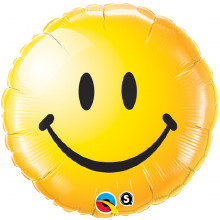 smiley face yellow foil balloon from qualatex