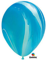 Qualatex Super Agate Blue Rainbow Balloon